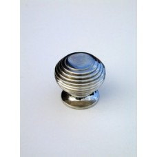 Small beehive cupboard knob in polished nickel.