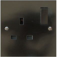 Single 13A Socket, Brown Square Edge