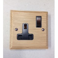 Special Offer - Single 13A Switched Socket in Light Oak with Antique Bronze Insert