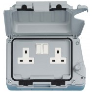 Double 13A Weatherproof Switched Socket DP