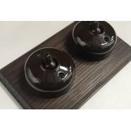Double 2 way Bakelite Switch on an Oak Pattress
