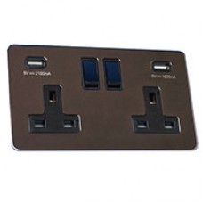 Double 13A Switched Socket with USB