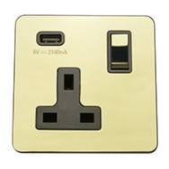 Single 13A Switched Socket with USB