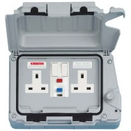 Double 13A Weatherproof RCD Switched Socket Latching DP