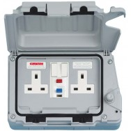 Double 13A Weatherproof RCD Switched Socket Non Latching DP