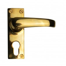 Lever Euro Lock Set Unlacquered Brass