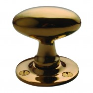 Oval Door Knob Mortice Unlacquered Brass