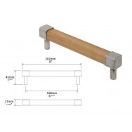 Small Eden Square Oak and Genuine Pewter Bar Handle