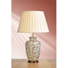 "Gold Birds & Berries Blue Lamp shown with optional Oyster 16"" Cotton Box Pleat Shade"