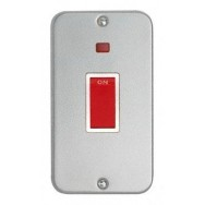 Vertical 45A Double DP Cooker Switch with Neon + Backbox