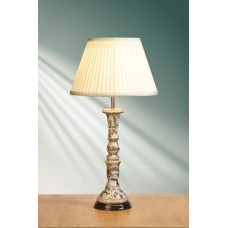 """Gold Birds & Berries Blue Candlestick Lamp shown with optional Ivory 14"""" Cotton Fine Pleat Shade"""