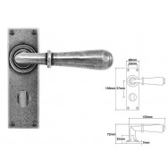 Pewter Lever Handle on Bathroom Backplate