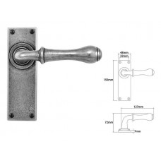 Pewter Lever Handle on Latch Backplate