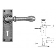 Pewter Lever Handle on Lock Backplate