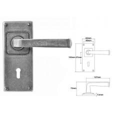 Pewter Lever Handle on Jesmond Lock Backplate