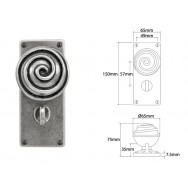 Pewter Door Knob on Jesmond Bathroom Backplate