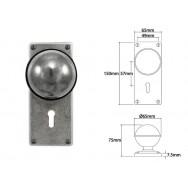 Pewter Door Knob on Jesmond Lock Backplate