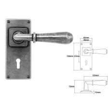 Pewter Lever Handle on Jesmond Lock Backplate
