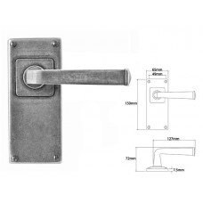 Pewter Lever Handle on Jesmond Latch Backplate