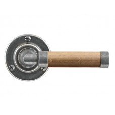 Pewter & Oak Lever Handle on Rose Backplate