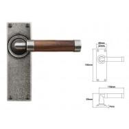Pewter & Oak Lever Handle on Latch Backplate (American Black Walnut)