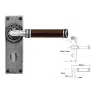 Pewter & Oak Lever Handle on Bathroom Backplate (American Black Walnut)