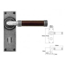 Pewter & Oak Lever Handle on Bathroom Backplate (American Black Walnut)
