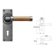 Pewter & Oak Lever Handle on Lock Backplate