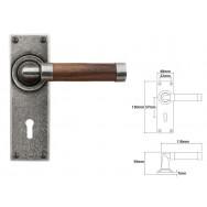 Pewter & Oak Lever Handle on Lock Backplate (American Black Walnut)
