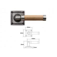 Pewter & Oak Lever Handle on Jesmond Rose Backplate