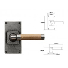 Pewter & Oak Lever Handle on Jesmond Short Latch Backplate
