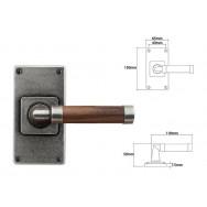 Pewter & Oak Lever Handle on Jesmond Short Latch Backplate (American Black Walnut)