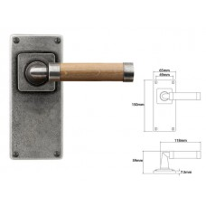 Pewter & Oak Lever Handle on Jesmond Latch Backplate