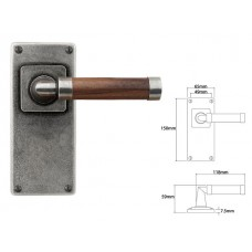 Pewter & Oak Lever Handle on Jesmond Latch Backplate (American Black Walnut)