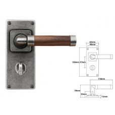 Pewter & Oak Lever Handle on Jesmond Bathroom Backplate (American Black Walnut)