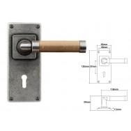 Pewter & Oak Lever Handle with Jesmond Lock Backplate