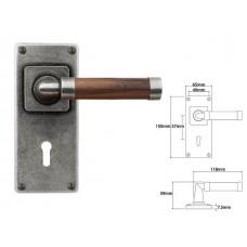 Pewter & Oak Lever Handle on Jesmond Lock Backplate (American Black Walnut)