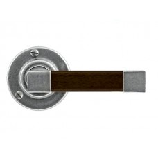 Pewter & Oak Lever Handle on Rose Backplate (American Black Walnut)