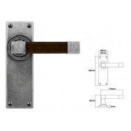 Pewter & Oak Lever Handle on Latch Backplate (American Black Walnut)