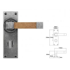 Pewter & Oak Lever Handle on Bathroom Backplate
