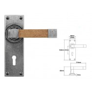 Pewter & Oak Lever Handle on Lock Backplate