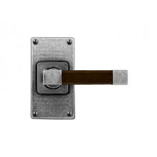Pewter & Oak Lever Handle on Jesmond Short Latch Backplate (American Black Walnut)
