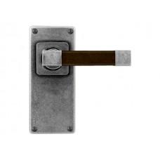 Pewter & Oak Lever Handle on Jesmond Latch Backplate (American Black Walnut)