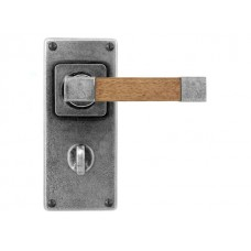 Pewter & Oak Lever Handle on Jesmond Bathroom Backplate