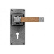 Pewter & Oak Lever Handle on Jesmond Lock/Keyhole Backplate