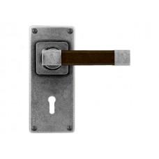 Pewter & Oak Lever Handle on Jesmond Lock/Keyhole Backplate (American Black Walnut)