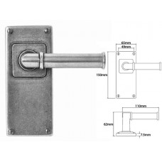 Pewter Lever Handle on Jesmond Long Latch Backplate
