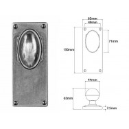 Pewter Door Knob on Jesmond Long Latch Backplate