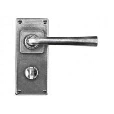 Pewter Bathroom Lever Handle on Jesmond Backplate