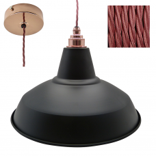 Industrial Pendant Set with Matt Black Shade and Copper Rose